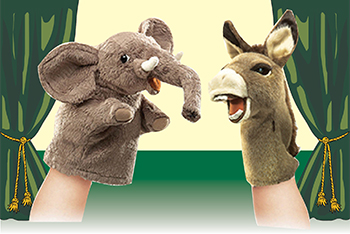 Elephant and donkey puppets by Folkmanis