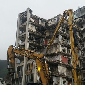 This ten-storey office building in Wellington had to be demolished after the quake